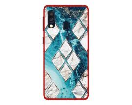 Husa Premium Spate Upzz Pro Anti Shock Compatibila Cu Samsung Galaxy A20e, Model Marble 1, Rama Rosie