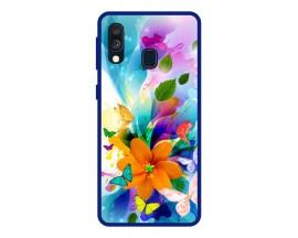Husa Premium Spate Upzz Pro Anti Shock Compatibila Cu Samsung Galaxy A20e, Model Painted Butterflies 2, Rama Albastra