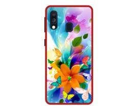 Husa Premium Spate Upzz Pro Anti Shock Compatibila Cu Samsung Galaxy A20e, Model Painted Butterflies 2, Rama Rosie