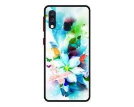 Husa Premium Spate Upzz Pro Anti Shock Compatibila Cu Samsung Galaxy A20e, Model Painted Butterflies, Rama Neagra