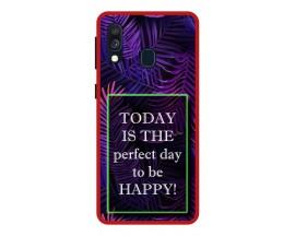 Husa Premium Spate Upzz Pro Anti Shock Compatibila Cu Samsung Galaxy A20e, Model Perfect Day, Rama Rosie