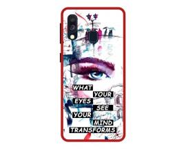 Husa Premium Spate Upzz Pro Anti Shock Compatibila Cu Samsung Galaxy A20e, Model Your Eyes, Rama Rosie