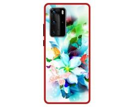 Husa Premium Spate Upzz Pro Anti Shock Compatibila Cu Huawei P40 Pro, Model Painted Butteflies, Rama Rosie