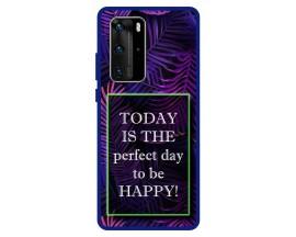 Husa Premium Spate Upzz Pro Anti Shock Compatibila Cu Huawei P40 Pro, Model Perfect Day, Rama Albastra