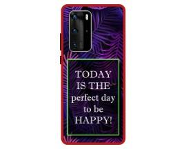 Husa Premium Spate Upzz Pro Anti Shock Compatibila Cu Huawei P40 Pro, Model Perfect Day, Rama Rosie