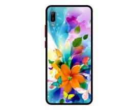 Husa Premium Spate Upzz Pro Anti Shock Compatibila Cu Huawei Y6 2019, Model Painted Butterflies 2, Rama Neagra