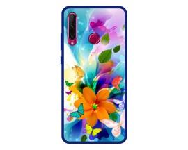 Husa Premium Spate Upzz Pro Anti Shock Compatibila Cu Huawei Y6p, Model Painted Butterflies 2, Rama Albastra