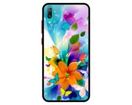 Husa Premium Spate Upzz Pro Anti Shock Compatibila Cu Huawei Y7 2019, Model Painted Butterflies 2, Rama Neagra