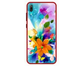 Husa Premium Spate Upzz Pro Anti Shock Compatibila Cu Huawei Y7 2019, Model Painted Butterflies 2, Rama Rosie