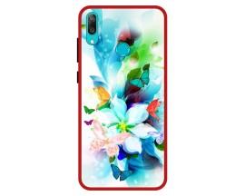 Husa Premium Spate Upzz Pro Anti Shock Compatibila Cu Huawei Y7 2019, Model Painted Butterflies, Rama Rosie