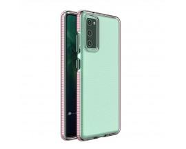 Husa Antishock Upzz Spring Compatibila Cu Samsung Galaxy A02s , Transparenta Cu Margine Roz Deschis