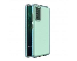 Husa Antishock Upzz Spring Compatibila Cu Samsung Galaxy A02s , Transparenta Cu Margine Albastru Deschis