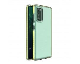Husa Antishock Upzz Spring Compatibila Cu Samsung Galaxy A02s , Transparenta Cu Margine Galbena