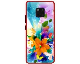 Husa Premium Spate Upzz Pro Anti Shock Compatibila Cu Huawei Mate 20 Pro, Model Painted Butterflies 2, Rama Rosie