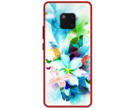 Husa Premium Spate Upzz Pro Anti Shock Compatibila Cu Huawei Mate 20 Pro, Model Painted Butterflies, Rama Rosie