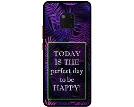 Husa Premium Spate Upzz Pro Anti Shock Compatibila Cu Huawei Mate 20 Pro, Model Perfect Day, Rama Neagra