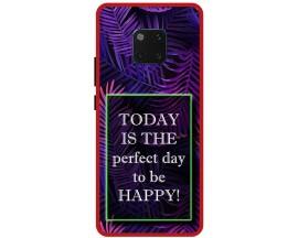 Husa Premium Spate Upzz Pro Anti Shock Compatibila Cu Huawei Mate 20 Pro, Model Perfect Day, Rama Rosie