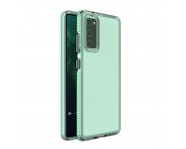 Husa Antishock Upzz Spring Compatibila Cu Samsung Galaxy A72 4G , Transparenta Cu Margine Verde Menta