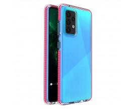 Husa Antishock Upzz Spring Compatibila Cu Samsung Galaxy A52 4G / A52 5G , Transparenta Cu Margine Roz