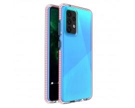 Husa Antishock Upzz Spring Compatibila Cu Samsung Galaxy A52 4G / A52 5G , Transparenta Cu Margine Roz Deschis