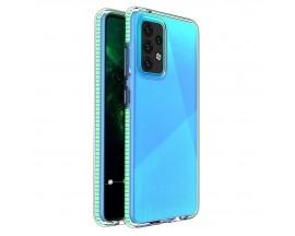 Husa Antishock Upzz Spring Compatibila Cu Samsung Galaxy A52 4G / A52 5G , Transparenta Cu Margine Verde Menta