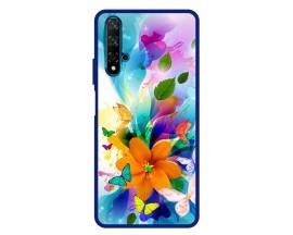 Husa Premium Spate Upzz Pro Anti Shock Compatibila Cu Huawei Nova 5T, Model Painted Butterflies 2, Rama Albastra