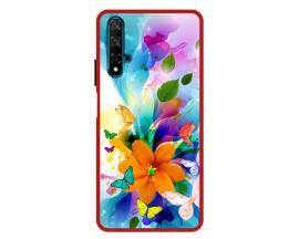 Husa Premium Spate Upzz Pro Anti Shock Compatibila Cu Huawei Nova 5T, Model Painted Butterflies 2, Rama Rosie