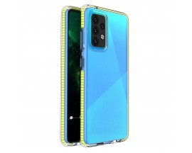 Husa Antishock Upzz Spring Compatibila Cu Samsung Galaxy A52 4G / A52 5G , Transparenta Cu Margine Galbena