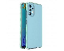 Husa Antishock Upzz Spring Compatibila Cu Samsung Galaxy A32 4G, Transparenta Cu Margine Verde Menta