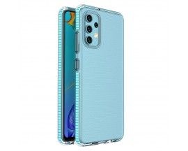 Husa Antishock Upzz Spring Compatibila Cu Samsung Galaxy A32 4G, Transparenta Cu Margine Albastra