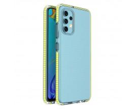 Husa Antishock Upzz Spring Compatibila Cu Samsung Galaxy A32 4G, Transparenta Cu Margine Galbena