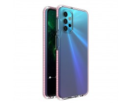 Husa Antishock Upzz Spring Compatibila Cu Samsung Galaxy A32 5G, Transparenta Cu Margine Roz Deschis
