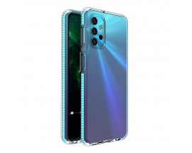 Husa Antishock Upzz Spring Compatibila Cu Samsung Galaxy A32 5G, Transparenta Cu Margine Albastra