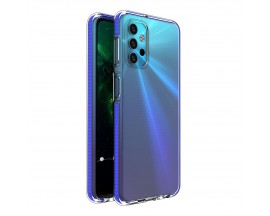 Husa Antishock Upzz Spring Compatibila Cu Samsung Galaxy A32 5G, Transparenta Cu Margine Albastru Navy