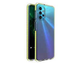 Husa Antishock Upzz Spring Compatibila Cu Samsung Galaxy A32 5G, Transparenta Cu Margine Galbena