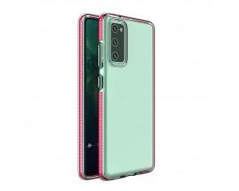 Husa Antishock Upzz Spring Compatibila Cu Samsung Galaxy A12 / M12, Transparenta Cu Margine Roz