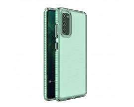 Husa Antishock Upzz Spring Compatibila Cu Samsung Galaxy A12 / M12, Transparenta Cu Margine Verde Menta