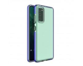 Husa Antishock Upzz Spring Compatibila Cu Samsung Galaxy A12 / M12, Transparenta Cu Margine Albastru Navy