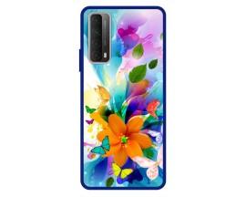 Husa Premium Spate Upzz Pro Anti Shock Compatibila Cu Huawei P Smart 2021, Model Painted Butterflies 2, Rama Albastra