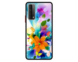 Husa Premium Spate Upzz Pro Anti Shock Compatibila Cu Huawei P Smart 2021, Model Painted Butterflies 2, Rama Neagra
