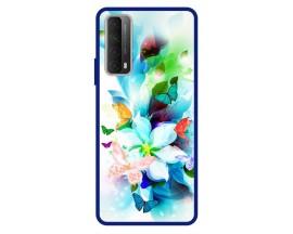 Husa Premium Spate Upzz Pro Anti Shock Compatibila Cu Huawei P Smart 2021, Model Painted Butterflies, Rama Albastra
