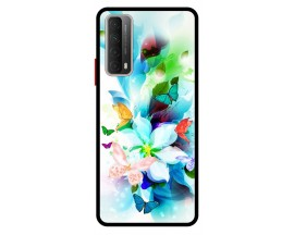 Husa Premium Spate Upzz Pro Anti Shock Compatibila Cu Huawei P Smart 2021, Model Painted Butterflies, Rama Neagra