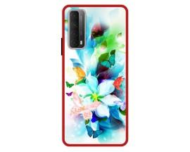 Husa Premium Spate Upzz Pro Anti Shock Compatibila Cu Huawei P Smart 2021, Model Painted Butterflies, Rama Rosie