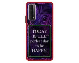 Husa Premium Spate Upzz Pro Anti Shock Compatibila Cu Huawei P Smart 2021, Model Perfect Day, Rama Rosie
