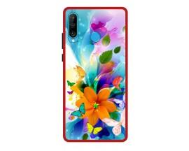 Husa Premium Spate Upzz Pro Anti Shock Compatibila Cu Huawei P30 Lite, Model Painted Butterflies 2, Rama Rosie