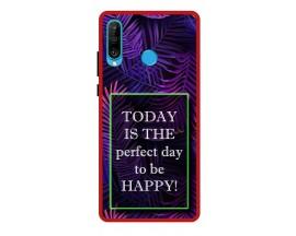 Husa Premium Spate Upzz Pro Anti Shock Compatibila Cu Huawei P30 Lite, Model Perfect Day, Rama Rosie