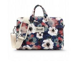 Husa Upzz Tech Briefcase  Canvaslife  Compatibila Cu Laptop / Macbook 13-13 Inch Blue Camellia