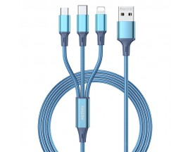 Cablu 3 In 1 Textil Remax Gition 3 in 1, 1x Lightning, 1 x MicroUsb, 1x Type-C, 3.1A, 1.2M Lungime Albastru - RC-189th