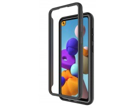 Husa Upzz Techsuit Defense 360 Compatibila Cu Samsung Galaxy A21s, Folie Protectie Inclusa, Negru