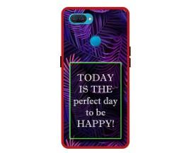 Husa Premium Spate Upzz Pro Anti Shock Compatibila Cu Oppo A12, Model Perfect Day, Rama Rosie